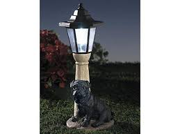 black pug solar powered garden lantern