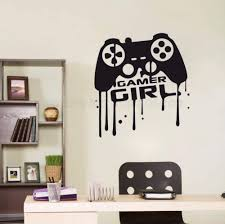 Amazon Com Dalxsh Girl Room Gamer Wall Decals Gamer Girl Quotes Controller Video Games Wall Sticker Vinyl Art Mural For Girl Room Poster 42x45cm Furniture Decor