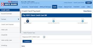 hdfc credit card payment through neft