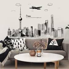 Big Offer 00b3bb Dream City Wall Stickers Architecture Buildings Wall Stickers Living Room Bedroom Home Decoration Art Wall Decals Large Murals Cicig Co