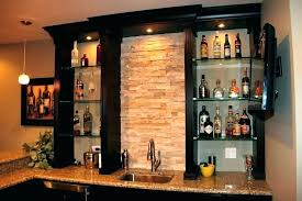 mirror with glass shelves for bar