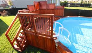 Stained Amber Poolside Privacy Fence Arts Crafts Swimming Pool Hot Tub Montreal By Flexfence Houzz Uk