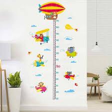 Cartoon Kids Height Chart Wall Sticker Growth Measure Ruler Decal Waterproof Wallpaper Nursery Kids Playroom Home Decoration Wall Stickers Aliexpress