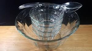 glass salad bowl 7 pc set large serving