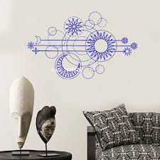 Geometric Moon Phases Wall Decal Art Moon Phases Design Home Decor Sun Decals Wall Stickers Unique Sofa Background Murals Lc1079 Wall Stickers Aliexpress