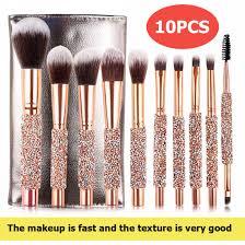 10 pcs makeup brush sets crystal cover