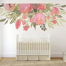 Nursery Decor Girl Wall Mural Pink Flowers