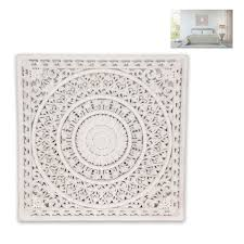 New 1pce 79cm Square Mandala Lattice Wall Art Carved Boho White Ebay
