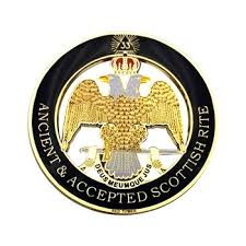 3 Masonic Car Emblem Gold Crown Scottish Rite 33 Degree Wing Down Mason Auto Truck Motorcycle Decal Sticker Badge Leather Bag