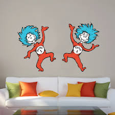 Dr Seuss Thing One And Thing Two Famous Happy Character Wall Art Sticker Vinyl Decal Girls Boys Kids Bedroom School House Wall Art Decoration Vinyl Sticker Peel And Stick Size