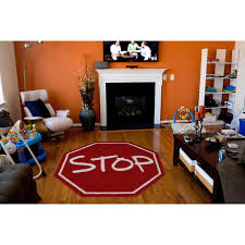 Shop Kids Red Stop Sign Accent Rug 3 2 Round Overstock 9563178