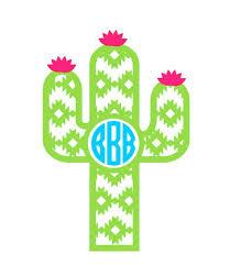 Cactus Monogram Cactus Stickers Cactus Decal Laptop Etsy