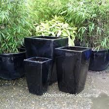 black glazed tall taper pot planter