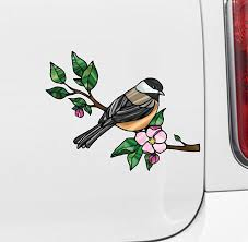 The Decal Store Com By Yadda Yadda Design Co Clr Car Bird Chickadee W Apple Blossoms Stained Glass Style Viny