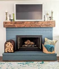 blue painted brick fireplace rustic