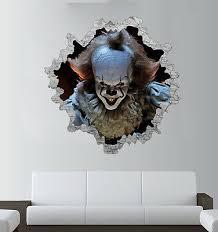 Pennywise 3d Wall Break Sticker It Clown Art Halloween Decal Window Scary Ebay