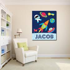 Space Nursery Wall Art Outerspace Planets Astronaut Rockets Kids Boy B Sweet Blooms Decor