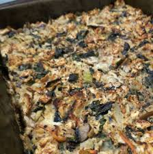 matzo kugel with spinach and goat