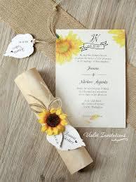 Rustic Sunflower Wedding Invitation Boxed By Violetinvitations