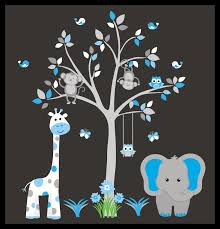 Baby Boy Nursery Wall Decals Blue And Gray Colors Nature Design Nurserydecals4you