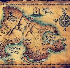 Een Schatkaart Van De Oertijd Pirate Treasure Maps Pirate Maps Neverland Map