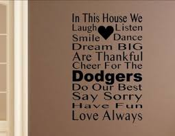 In This House We Cheer For The Dodgers Wall Decor Stickers Contemporary Wall Decals By Vinylsay Llc