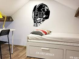 Amazon Com Hockey Decor Hockey Goalie Mask Vinyl Decal Large Wall Art Canada Goaltender Mask Helmet Vinyl Sticker Man Cave Boy Bedroom Playroom Made In Usa Kitchen Dining