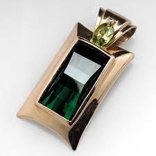 green tourmaline peridot pendant 14k gold