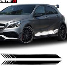 2018 New Edition 1 Style Side Skirt Racing Stripe Vinyl Decal Stickers For Mercedes Benz W176 A Class A180 A200 A250 A45 Amg A346