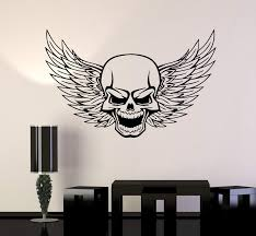 Skull Wall Vinyl Stickers Decal Wings Death Decor For Garage Car Uniqu Wallstickers4you