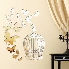 Walplus Butterflies And Birdcage Mirror Wall Decal Wayfair