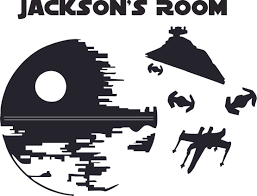 Star Wars Death Star Cartoon Character Design Customized Wall Art Vinyl Decal Custom Vinyl Wall Art Personalized Name Baby Girls Bedroom Decal Room Wall Sticker Decoration Size 18x20 Inch