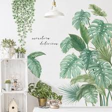 Fresh Monstera Green Leaf Living Room Home Decor Hanging Leaves Vines Garden Decals Greenery Plants Wall Stickers House Mural Thefuns On Artfire