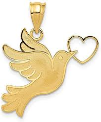 dove heart pendant charm necklace