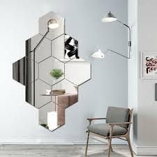 4pc large hexagon mirror glass tile