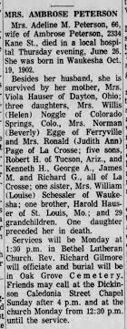 Adeline (Hauser) Peterson obit 1969 - Newspapers.com