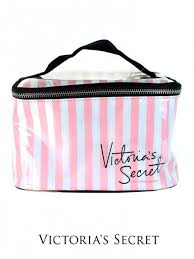 secret striped cosmetic case pink