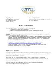 Http Www Coppelltx Gov Documents Government Engineering Building 20inspections Permit 20requirements Fence Pdf