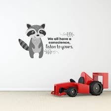 Zoomie Kids Listen To Yours Racoon Life Cartoon Quotes Decors Wall Sticker Art Design Decal For Girls Boys Kids Room Home Decor Wall Art Vinyl 35x40 Inch Wayfair