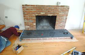 installing the fireplace hearth