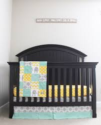 elephant crib bedding yellow mint gray