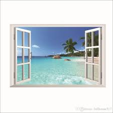 3d Beach Seascape Fake Windows View Wall Stickers Removable Faux Windows Wall Decal Landscape Wall Decor For Living Room Bedroom Wall Peels Wall Phrases Stickers From Fullhouse517 3 16 Dhgate Com