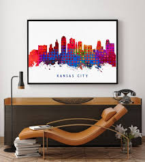 Kansas City Skyline Print Kansas City Art Kansas City Etsy