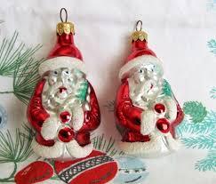 vintage blown glass santa ornaments