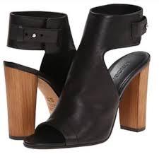 Vince Shoes | Wood Heel Black Modern Heel | Poshmark