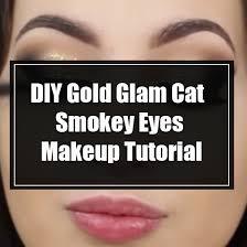 gold glam cat smokey eyes makeup tutorial