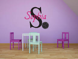 Personalized Name Vinyl Decal Sticker Custom Initial Wall Art Volleyball Girls Sports Decor 16 Inches X 20 Inches Walmart Com Walmart Com