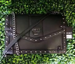 studded leather shoulder bag black