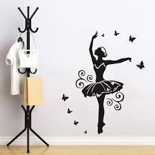 Black Color Dancing Girl Wall Sticker Ballerina Dancer Stickers Dancing Decoration For Girls Bedroom Ballerina Ballet Dancing Gril Style Wall Sticker Wish