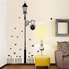 Amazon Com Wallpark European Style Simple Black Street Light Lamp Butterfly Removable Wall Sticker Decal Living Room Bedroom Home Decoration Adhesive Diy Art Wall Mural Home Kitchen